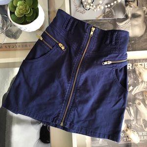Navy Blue High Waist Skirt